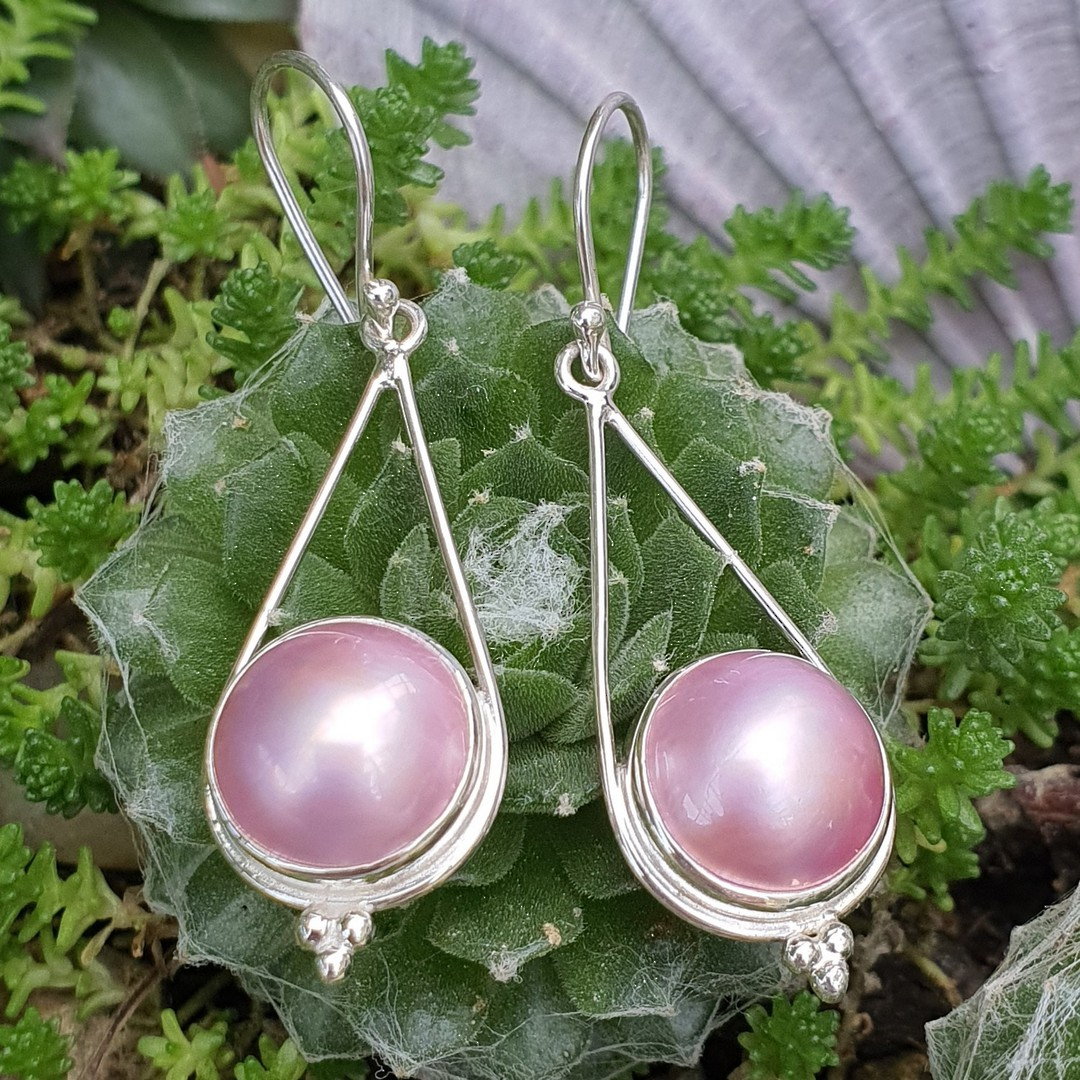Sterling silve pink pearl hook earrings image 2