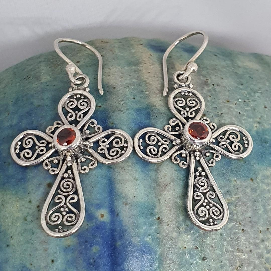 Silver filigree cross earrings with garnet image 1