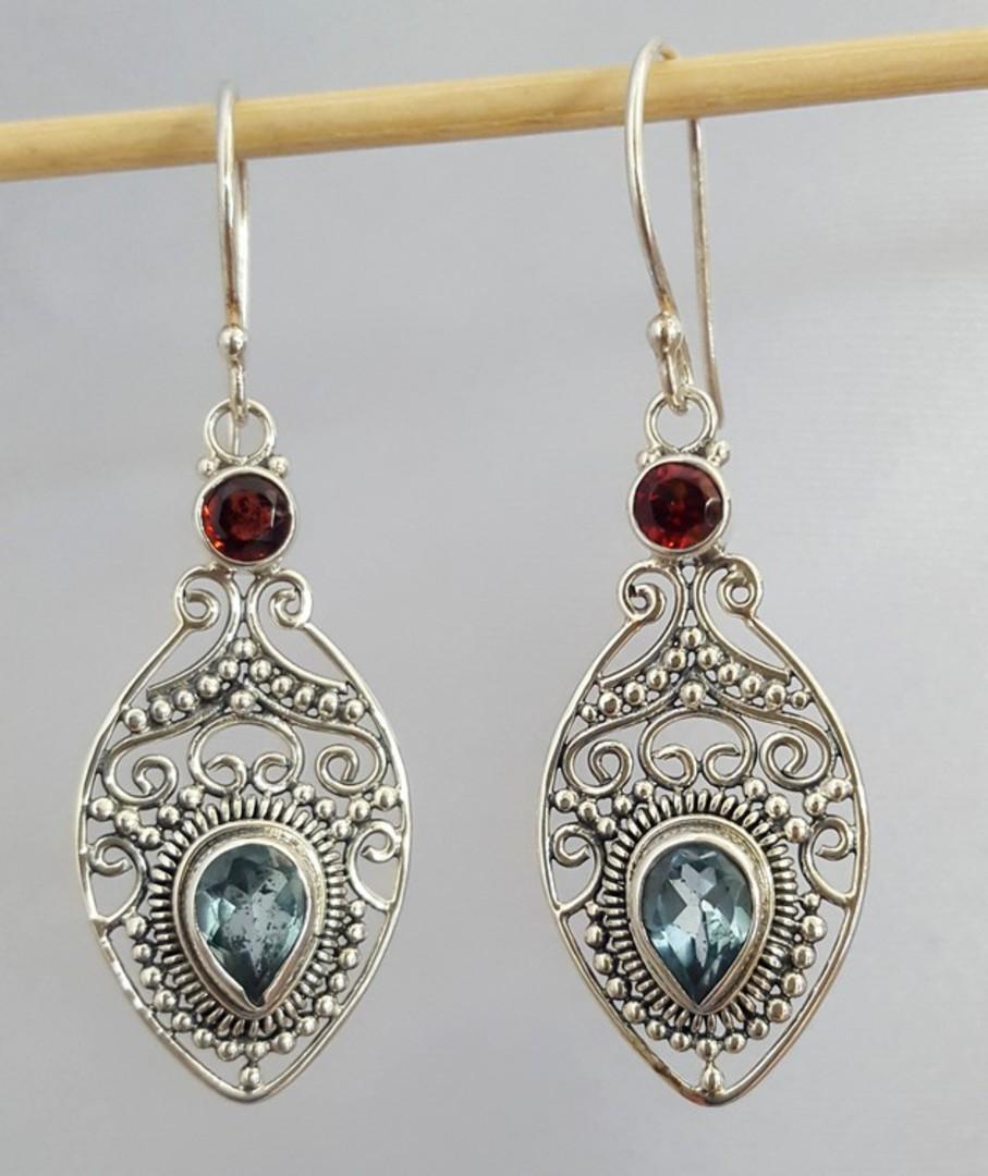 Sterling silver filigree blue topaz and garnet earrings image 1