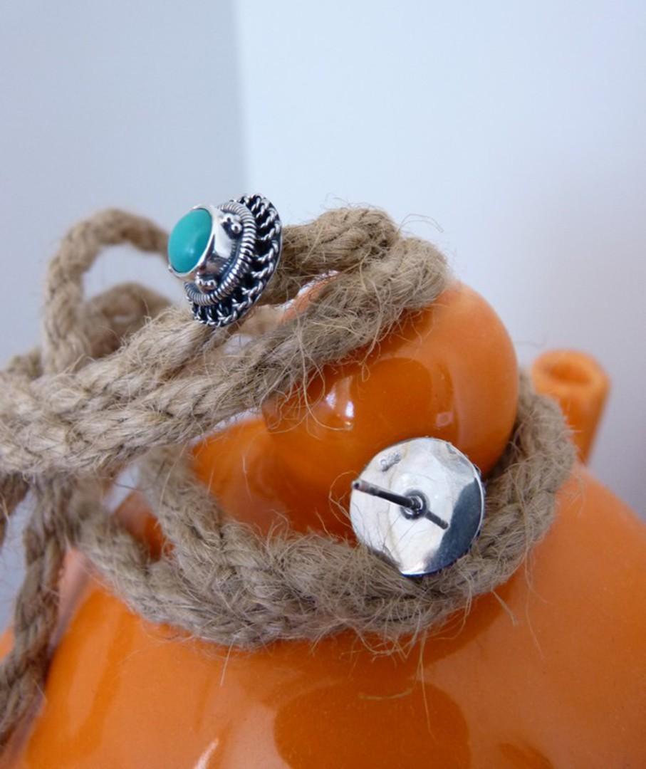 Silver turquoise stud earrings image 3
