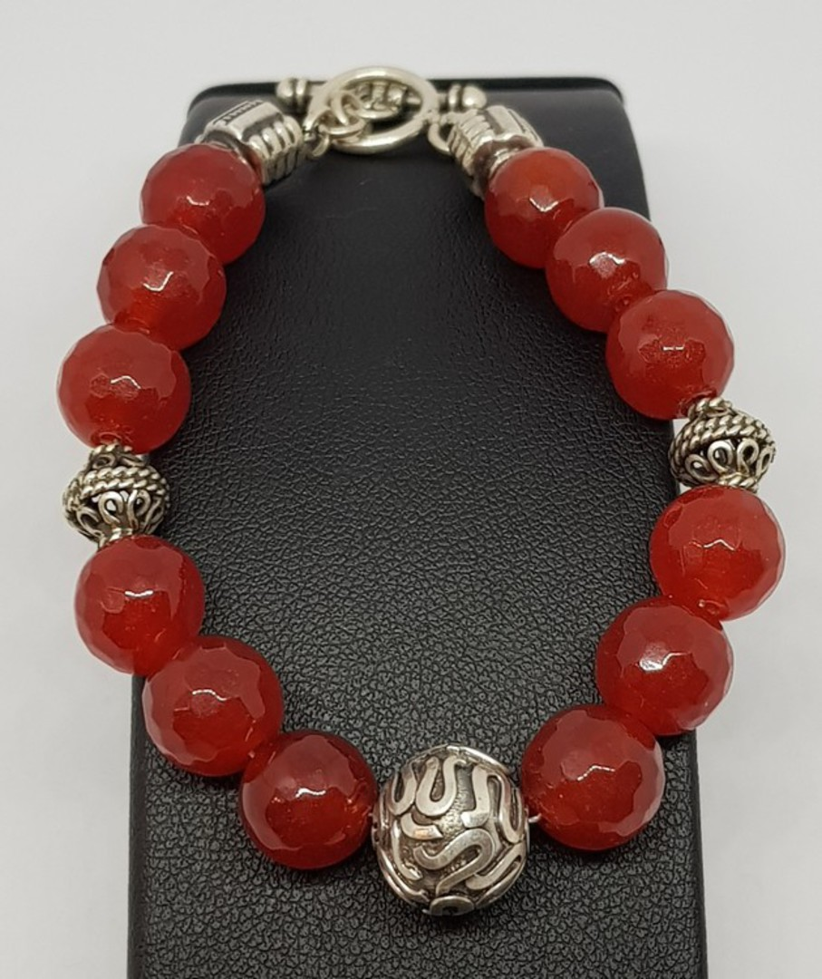 Natural carnelian beads and silver bracelet image 1