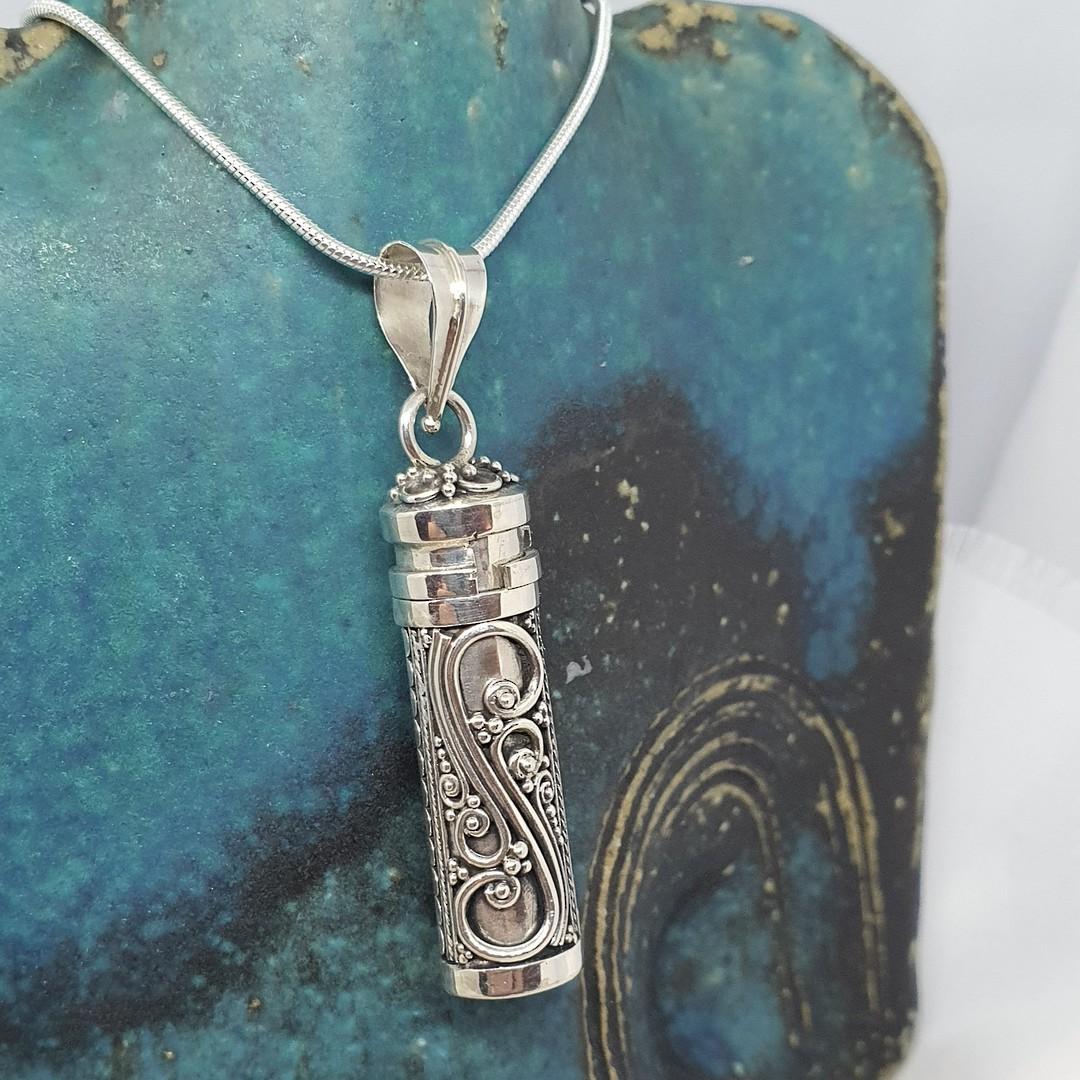 Silver filigree silver prayer or wish box pendant image 4