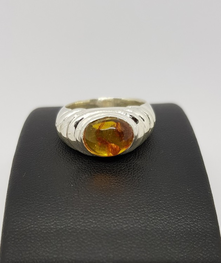 Sterling silver amber ring, NZ made image 2