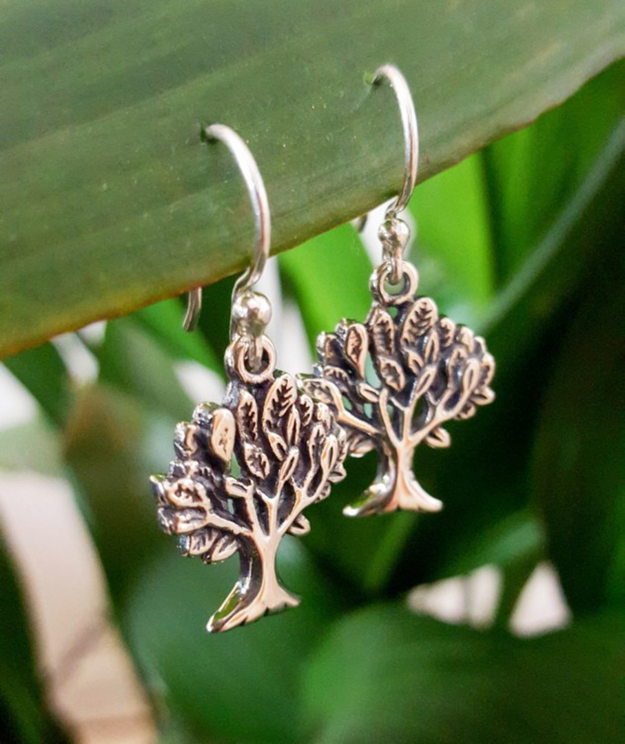 Sterling silver tree of life earrings image 2