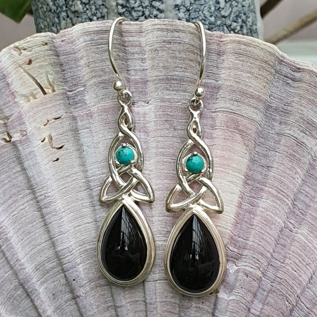 Silver onyx earrings with infinity knot and turquoise gemstone image 2