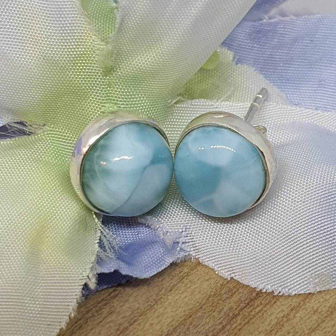 Cute little round larimar gemstone stud earrings image 0