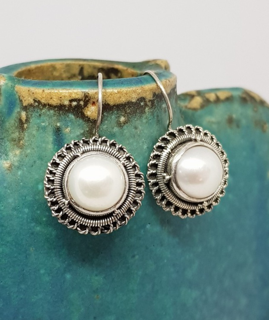 Sterling silver large fresh water pearl earrings image 1