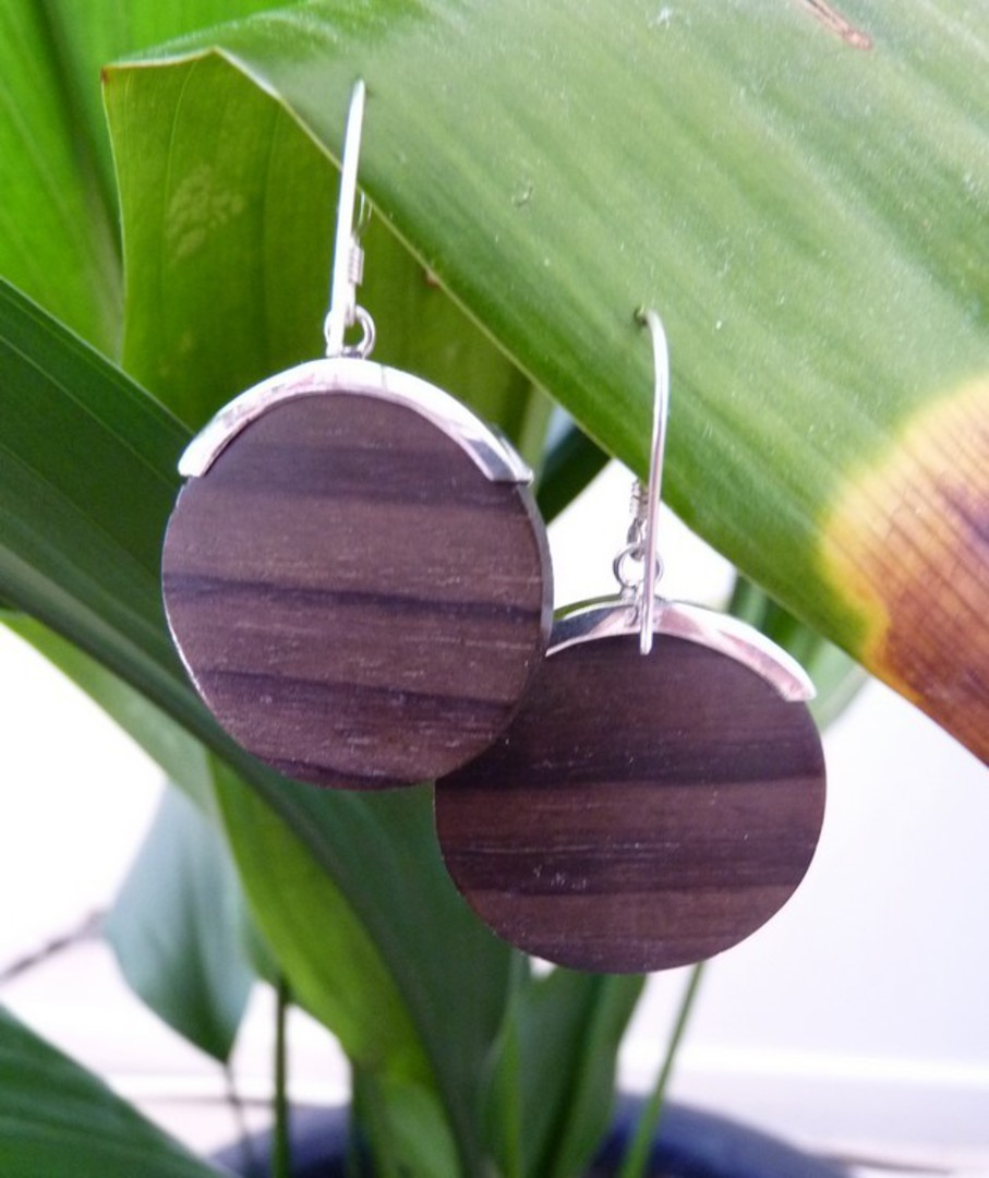 Polished wooden earrings with silver hook image 2