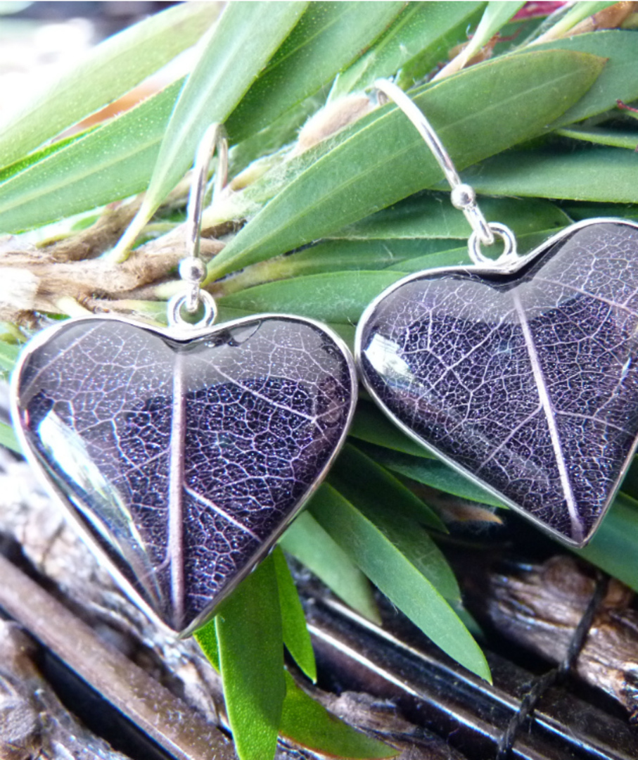 Purple skeleton leaf silver earrings - heart shaped image 2