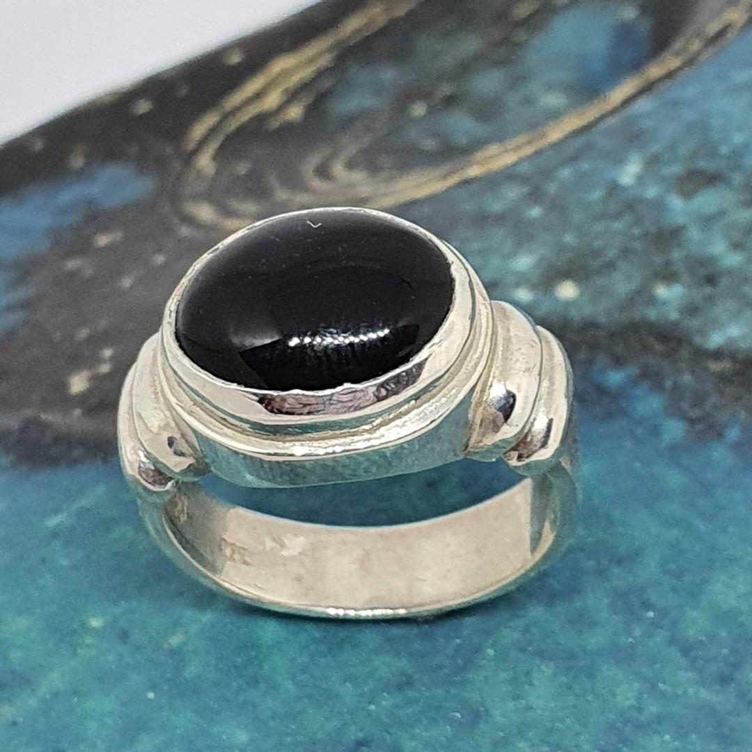 New Zealand made, black onyx silver ringg image 3