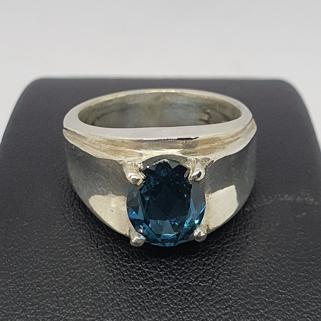 Wide silver band ring with blue topaz simulated gemstone image 1