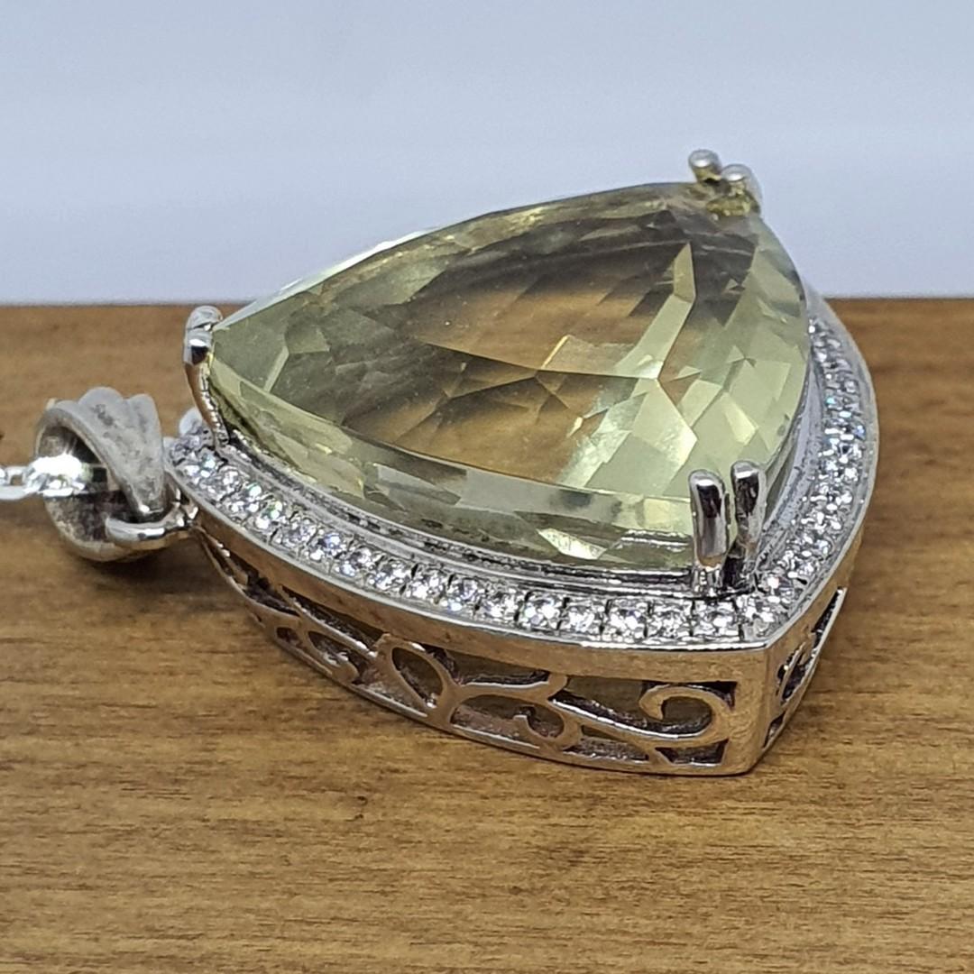 Large trillion lemon quartz and cz pendant image 3