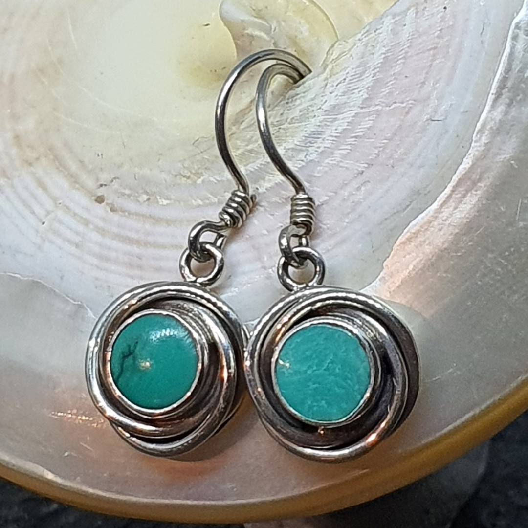 Sterling silver round turquoise earrings image 0