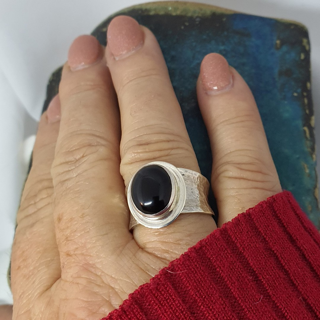 Sterling silver black onyx ring with wide hammered band image 2