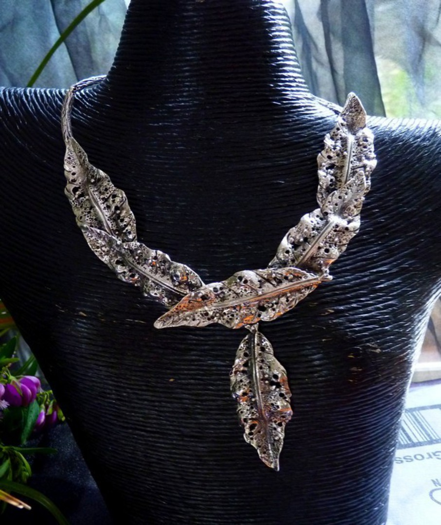 Sterling silver rustic leaf necklace - one off, outstanding design image 0