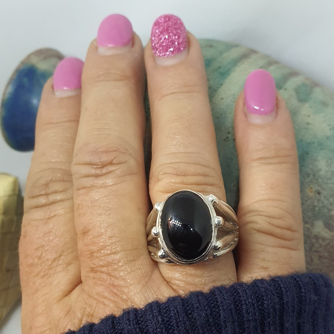 Made in New Zealand, sterling silver onyx gemstone ring image 3