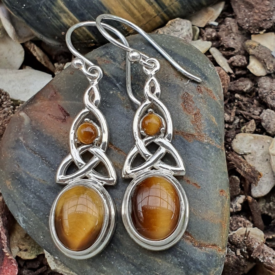 Silver tigers eye earrings with infinity knot image 2