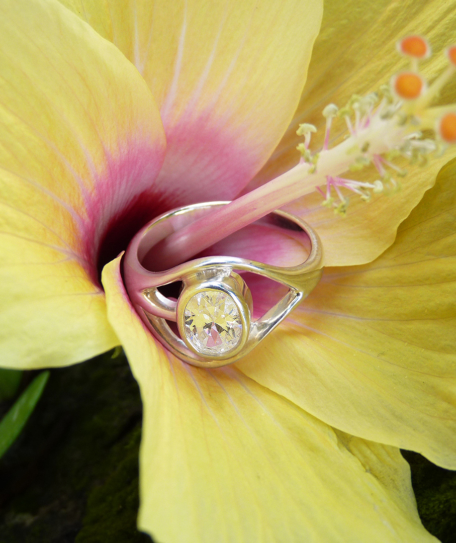 Cubic Zirconia Ring with Cutout Detailing image 1