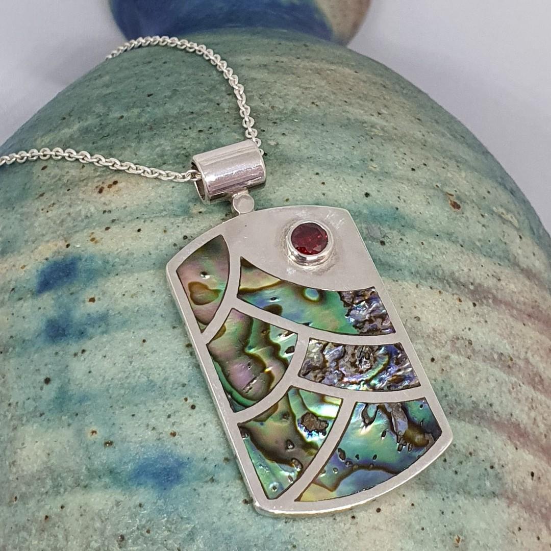 NZ paua shell pendant, sterling silver image 1