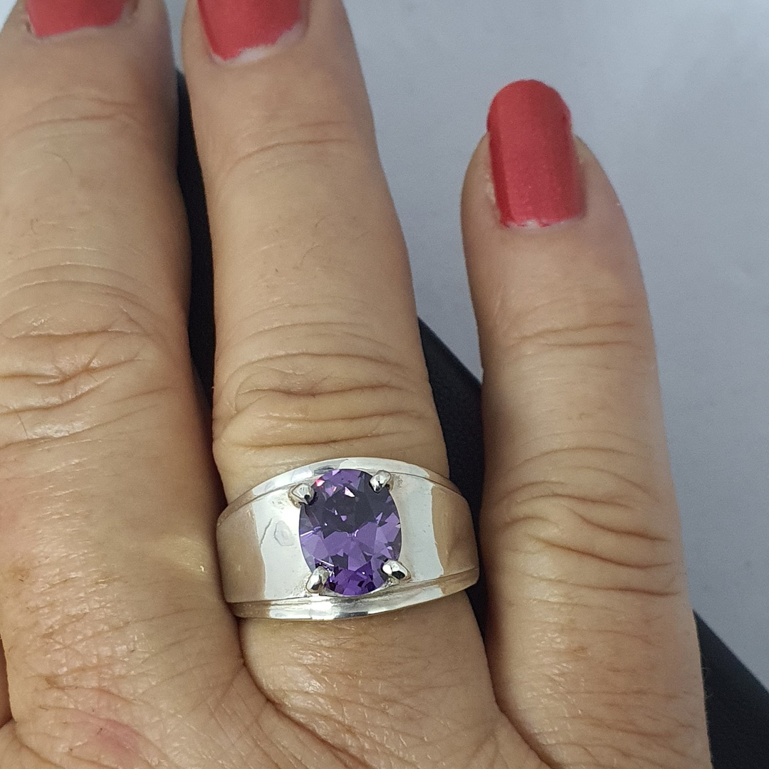 Wide silver band ring with purple gemstone image 3