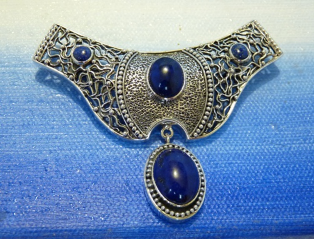 Lapis lazuli large silver pendant - can be worn as a brooch image 1