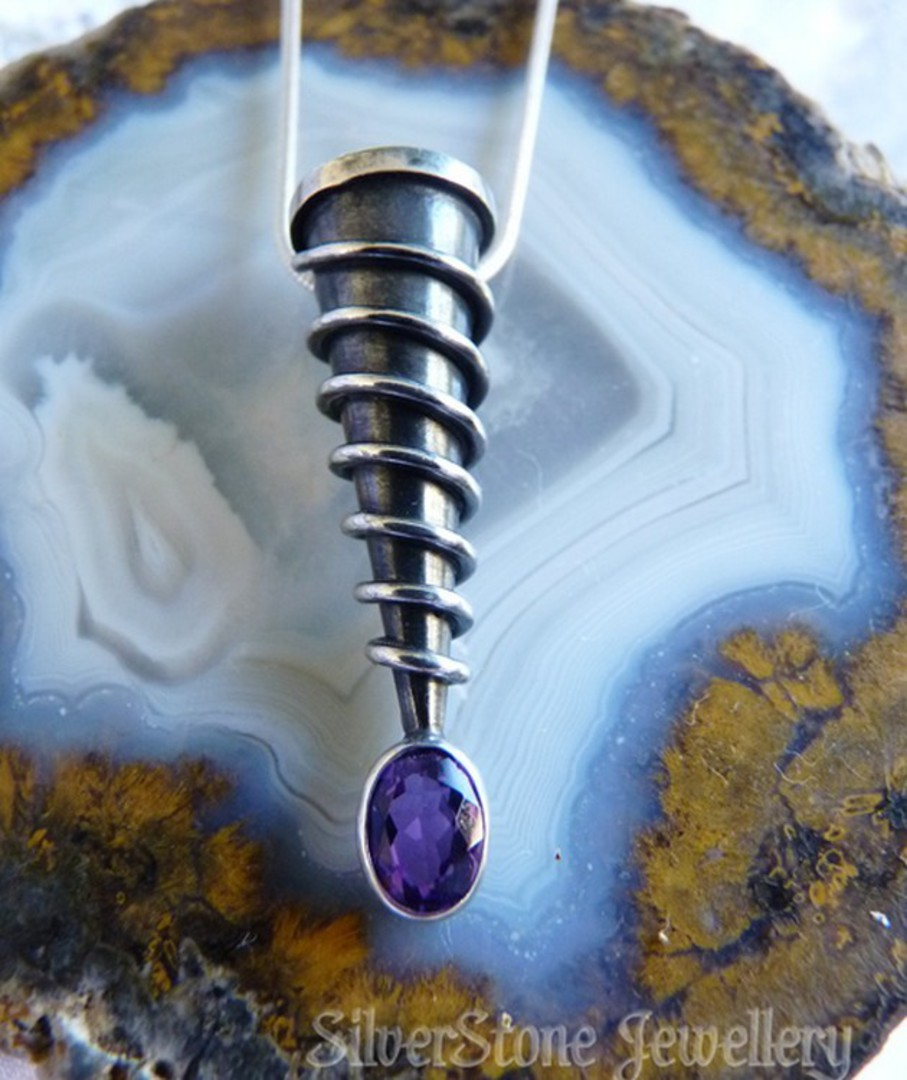 Unique, designer pendant, spiraled silver with amethyst image 0