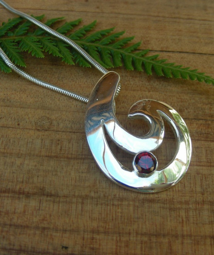 Made in New Zealand - Silver Fish Hook Pendant image 0