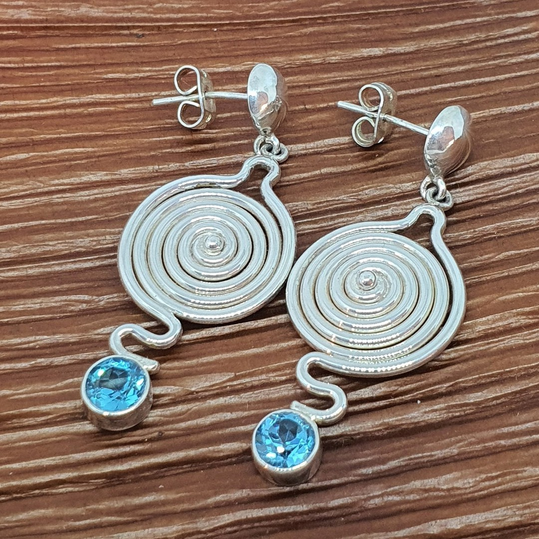 Quirky and unique blue topaz silver earrings image 0