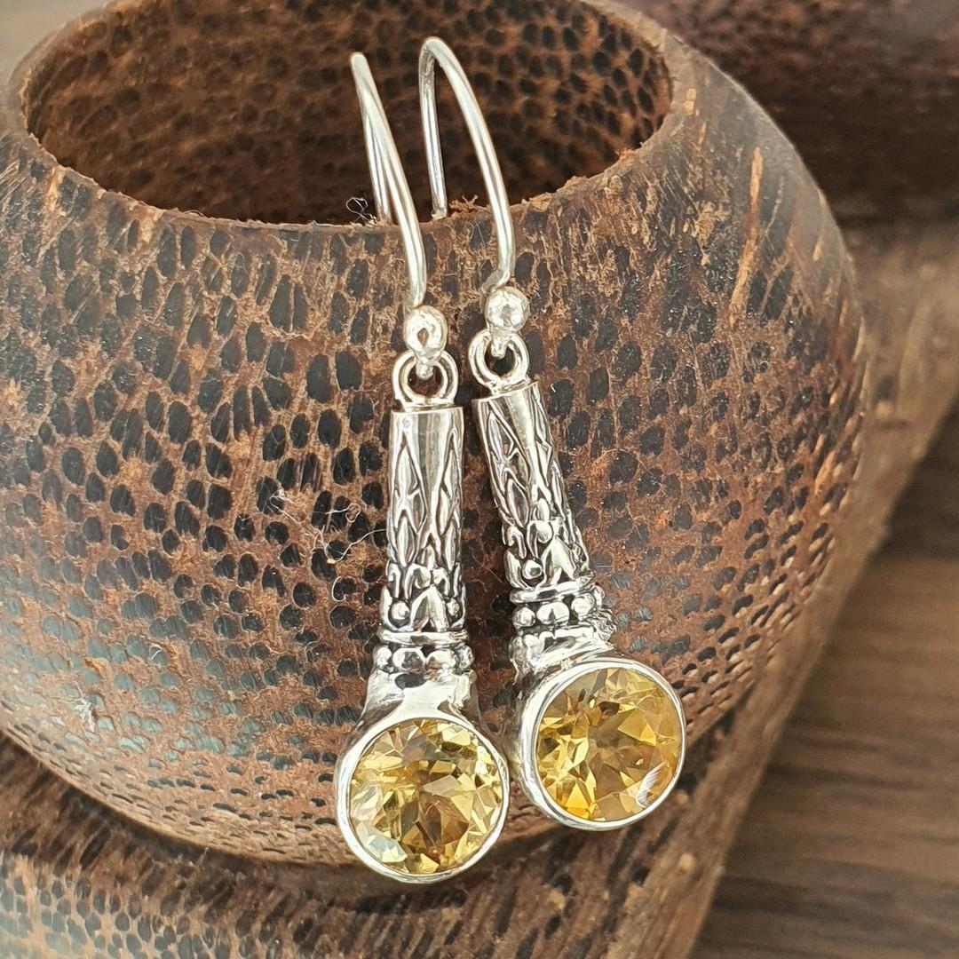 Sterling silver citrine earrings image 0