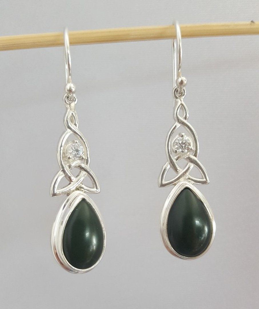 NZ greenstone (pounamu) silver earrings image 1