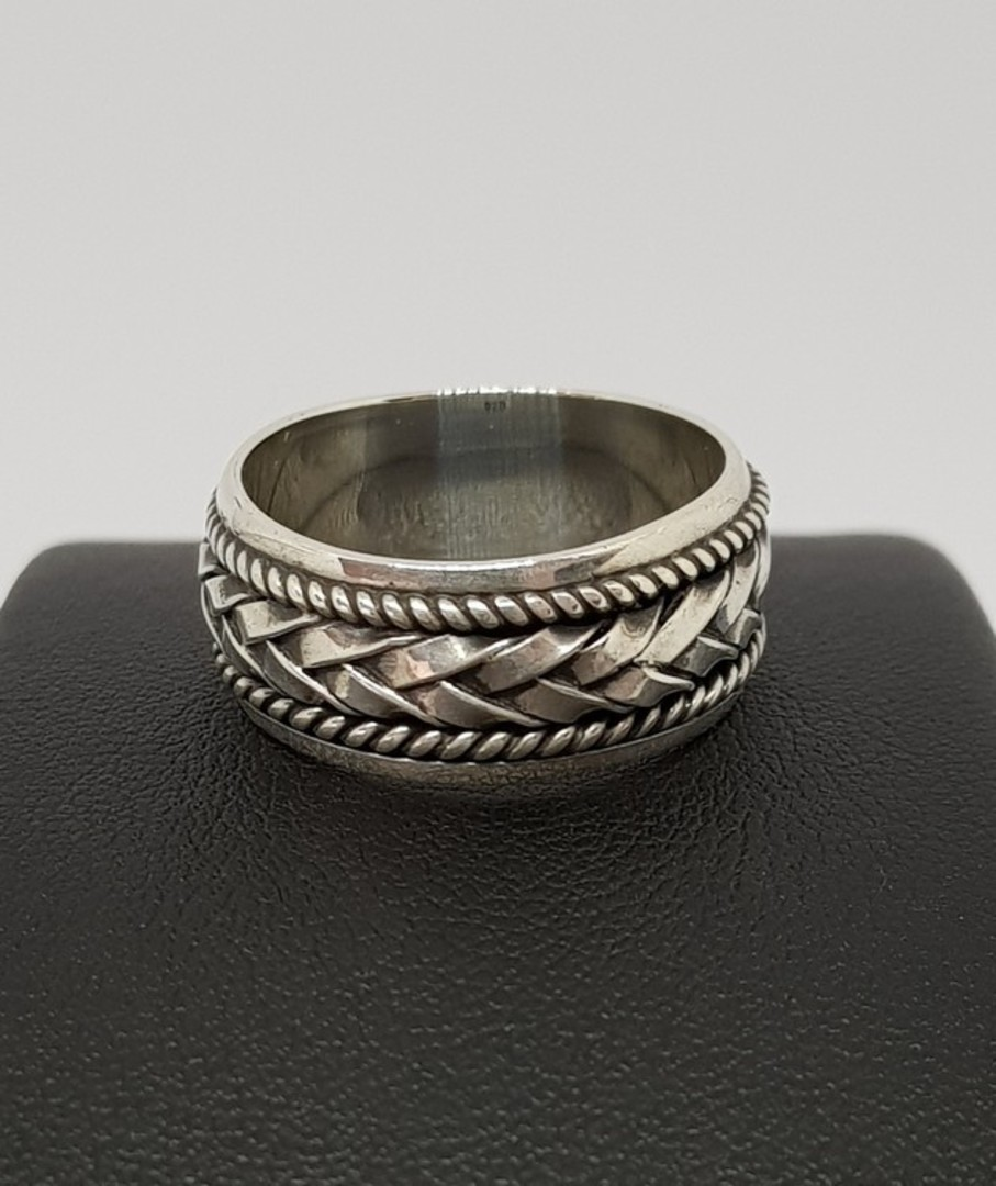 Silver ring with plaited detail image 0