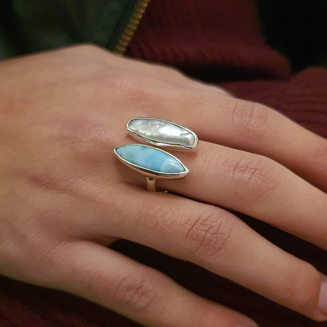 Sterling silver larimar and pearl ring image 2