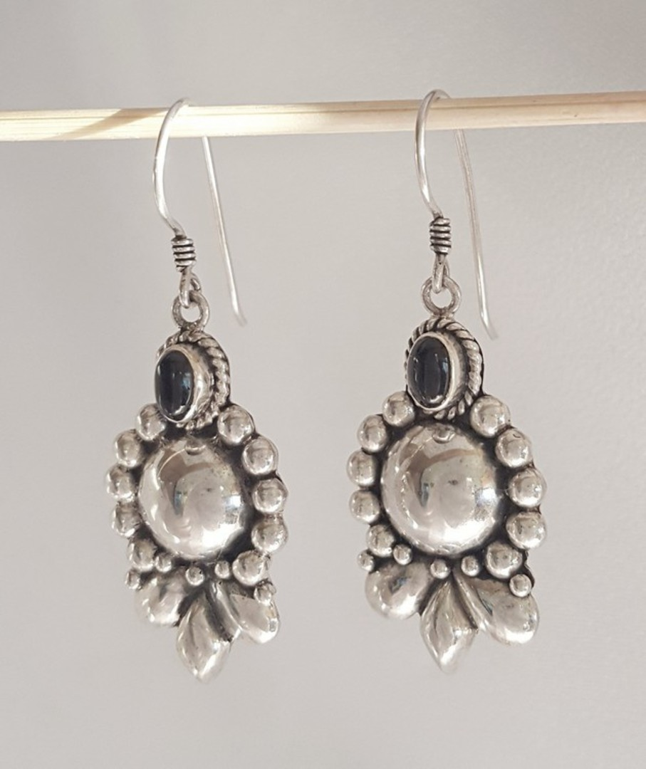 Longer length, hook style, silver onyx earrings image 1