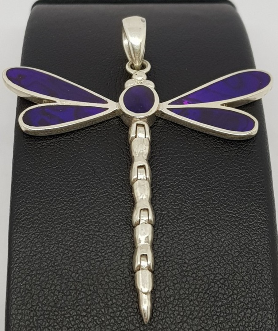 Purple dragonfly pendant necklace image 1