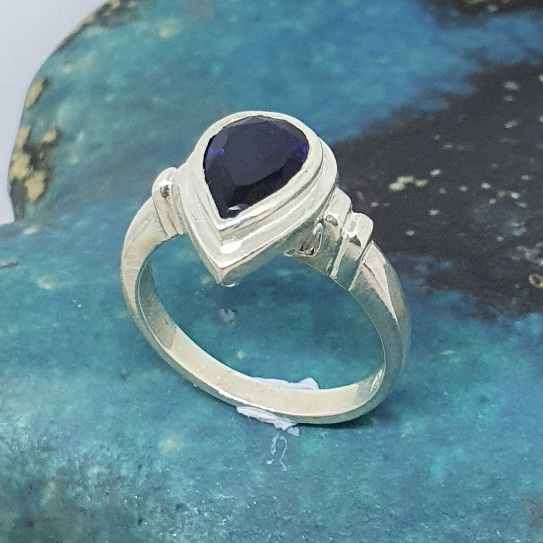 Sterling silver synthetic sapphire ring image 0