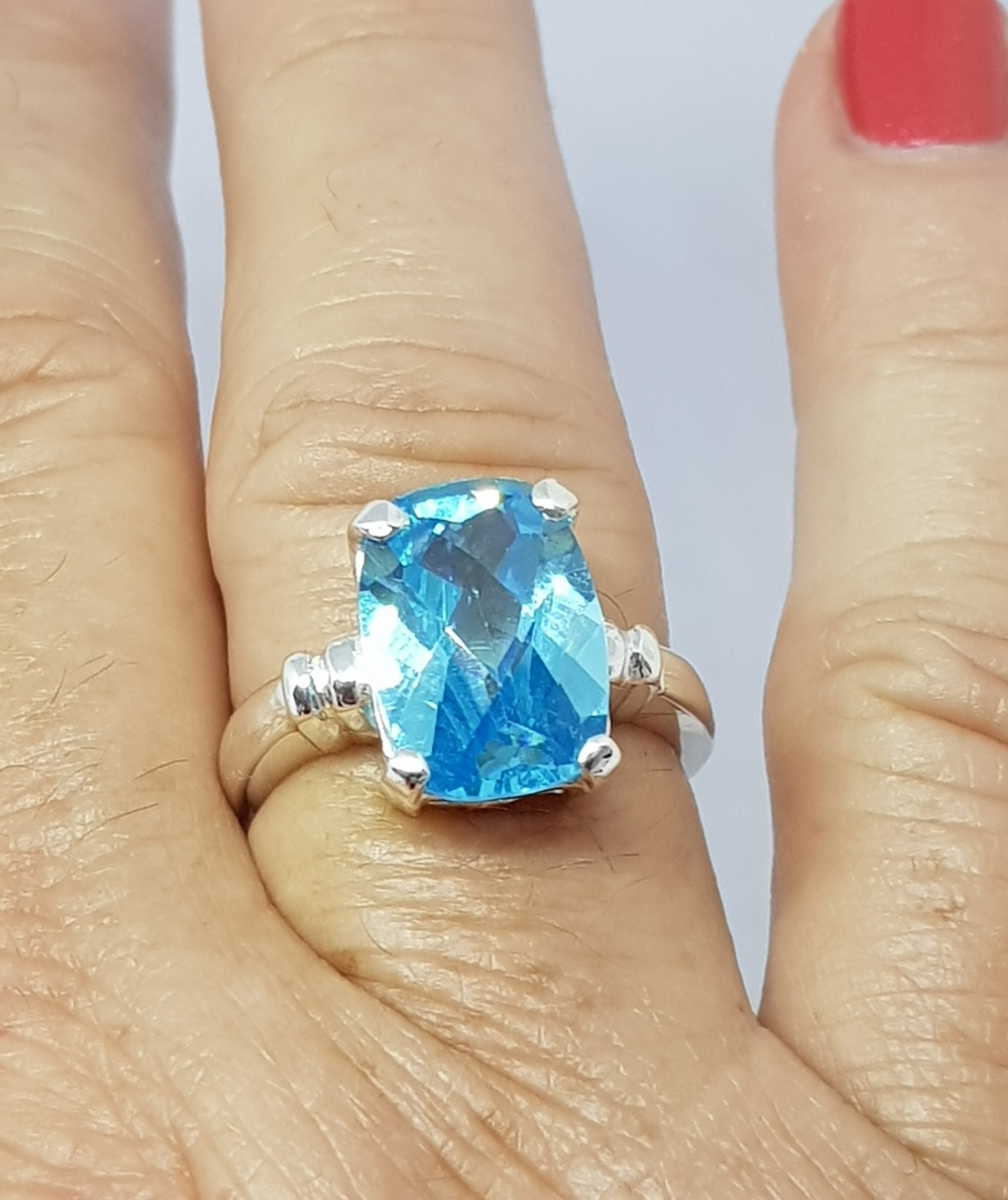 Silver blue topaz ring - NZ made image 3