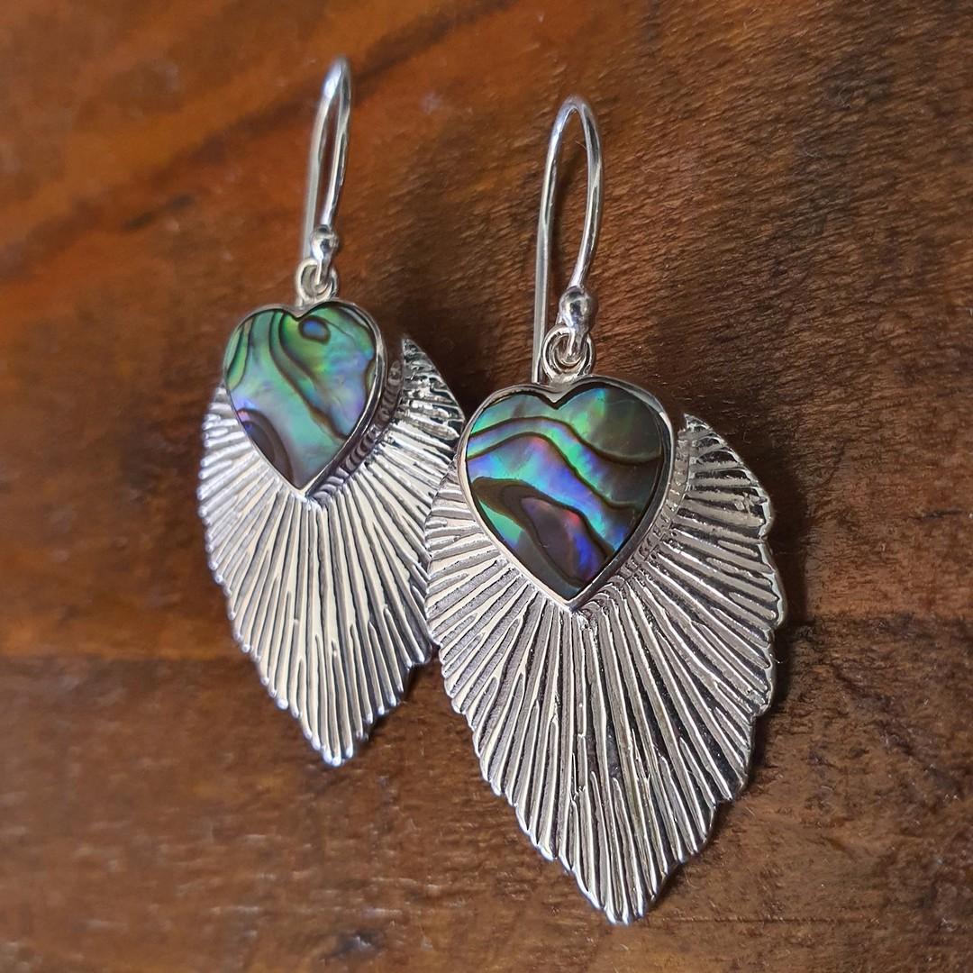 Leaf shape paua shell earrings image 1