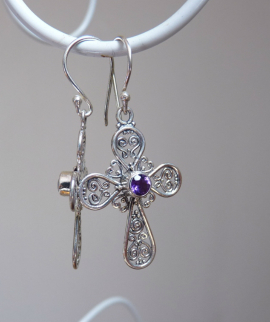 Silver Amethyst Earrings | Filigree silver crosses image 1