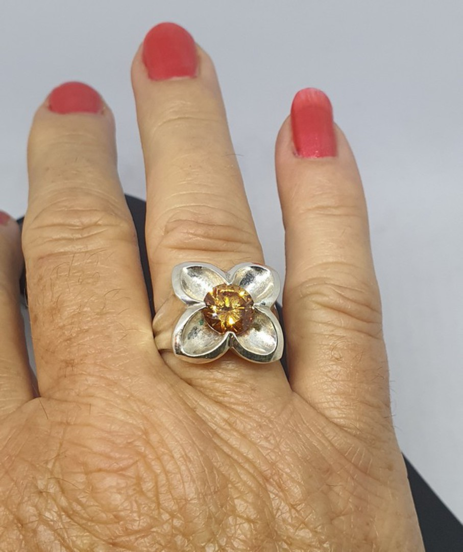 Sterling silver flower ring with golden gemstone image 1