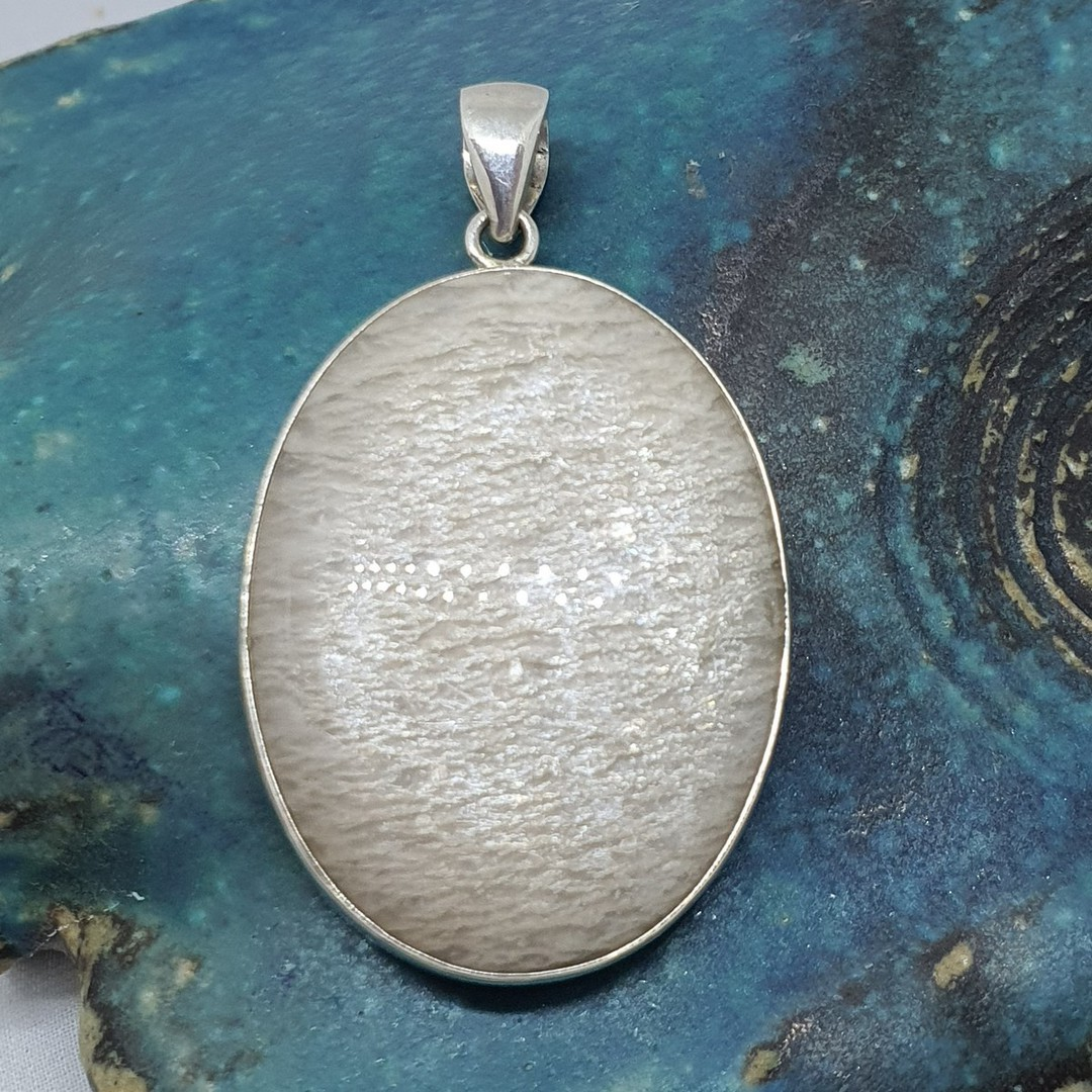 Sterling silver oval agate pendant image 0