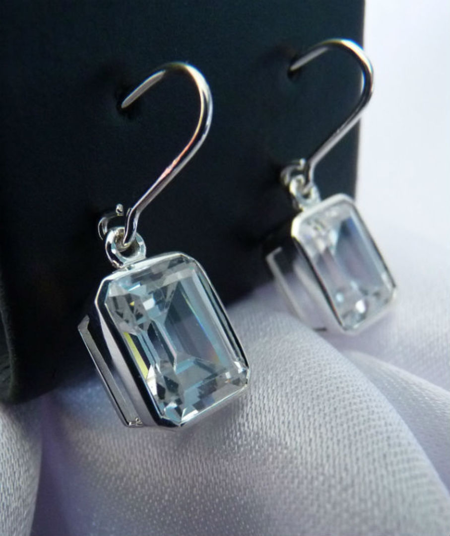 Rectangle cut cubic zirconia sterling silver earrings image 1
