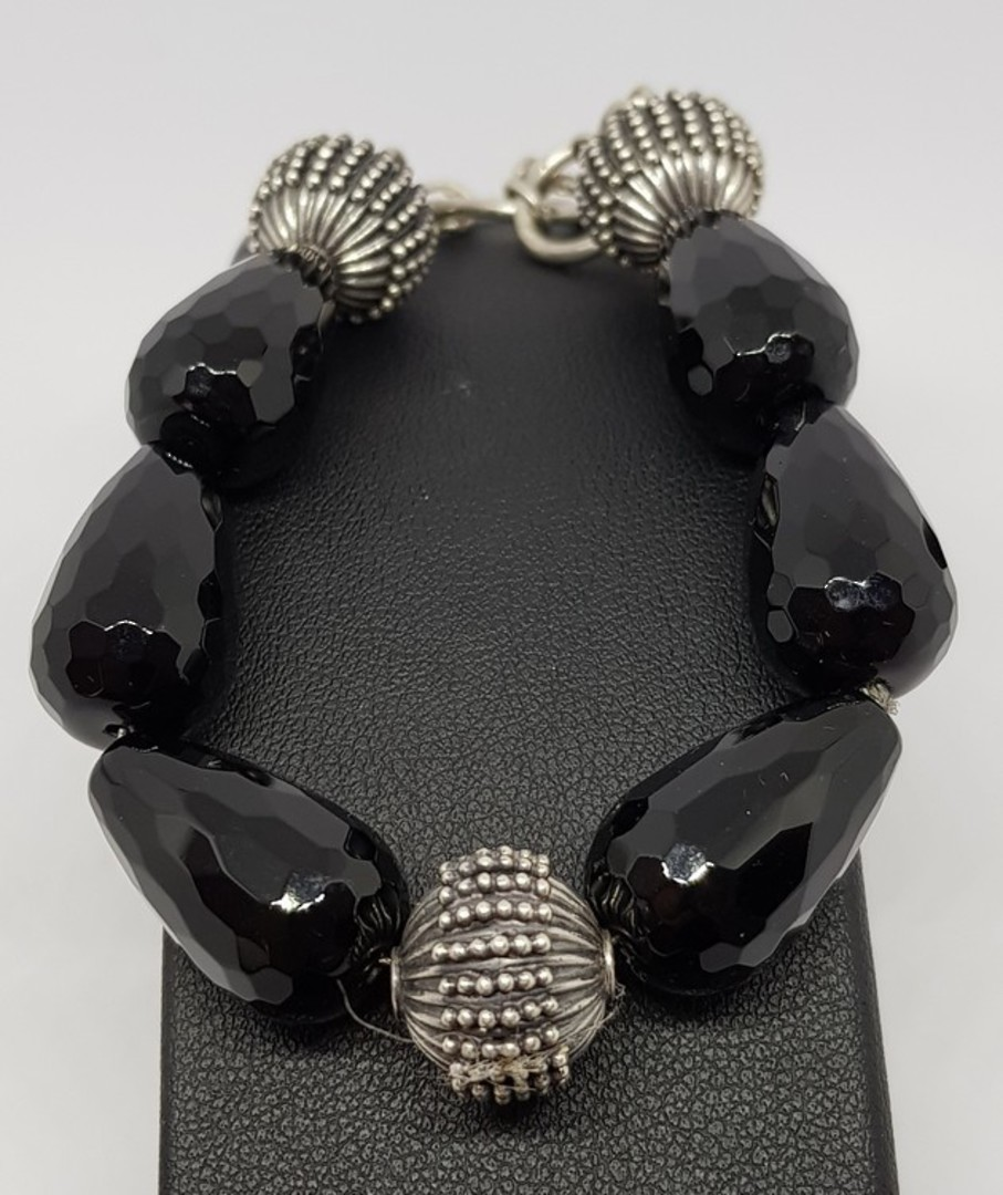 Facet cut black onyx beads and silver bracelet image 0