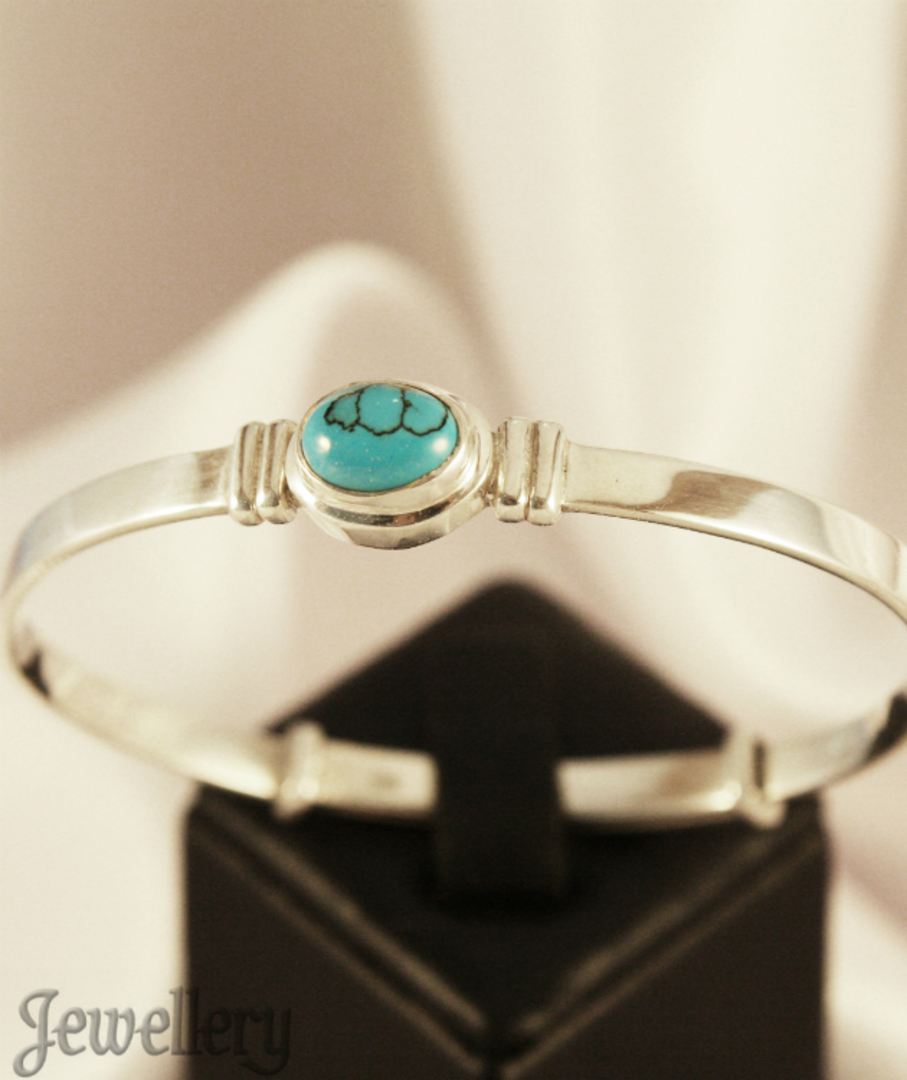 Turquoise Birthstone Baby Bangle for Miss December image 2