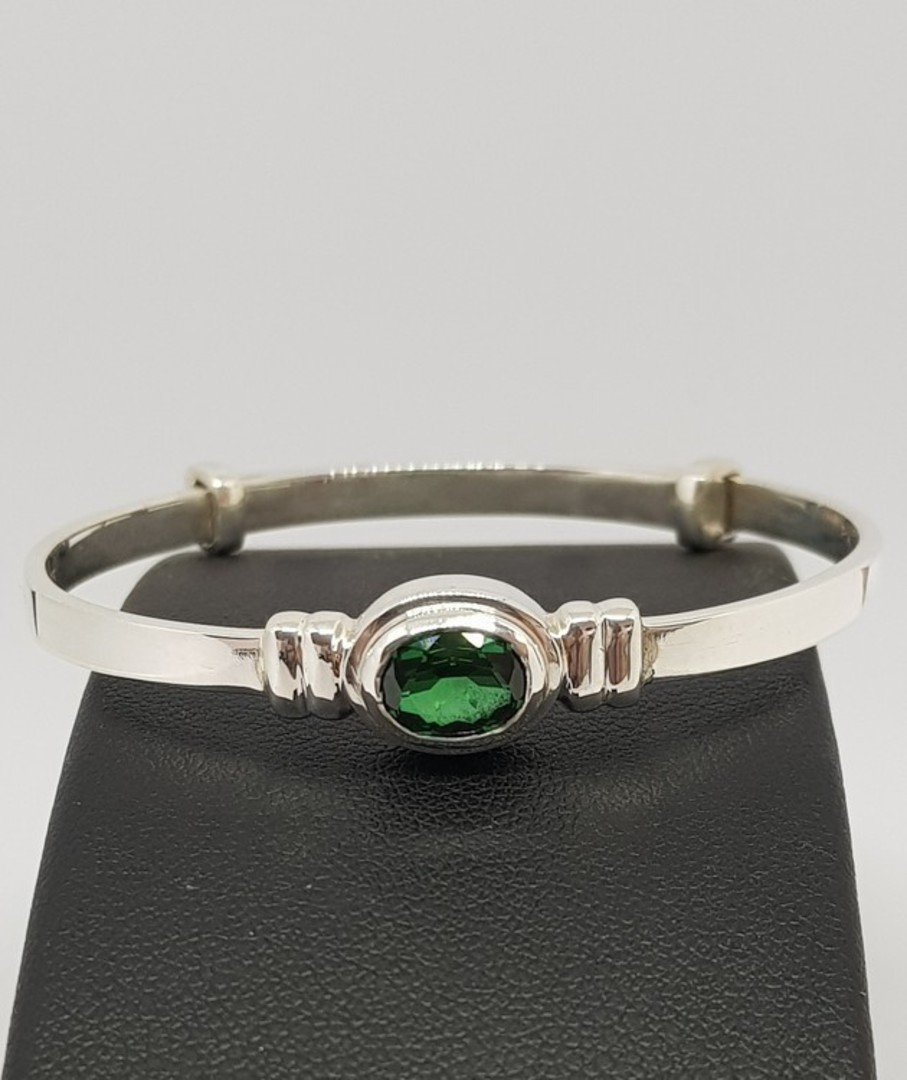 Sterling silver May baby birthstone bangle image 1