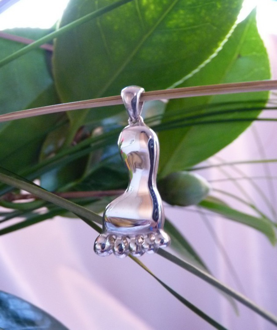 Solid Sterling Silver Foot Pendant image 0