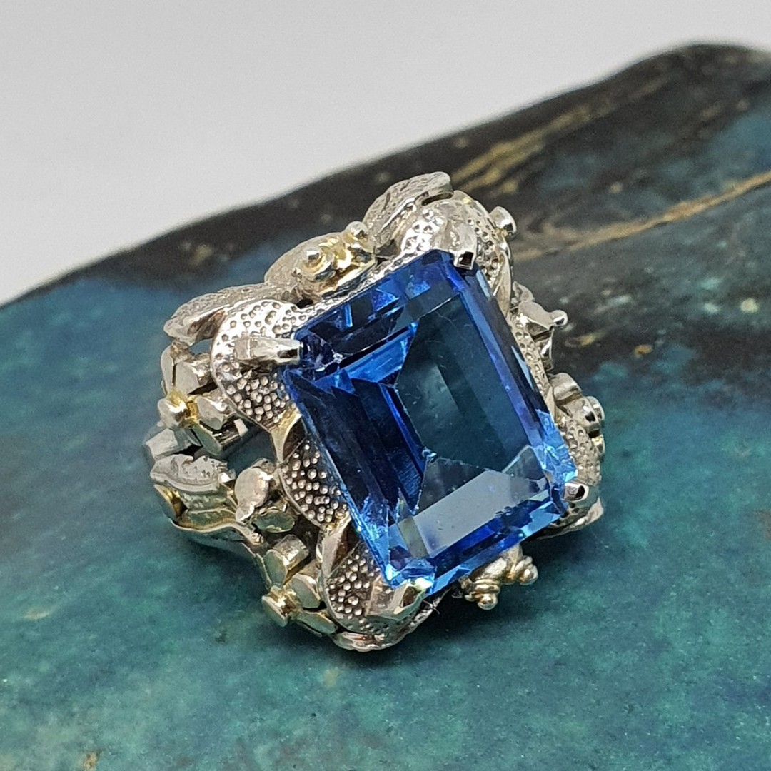 Large chunky silver ring with sparkling blue gemstone image 1
