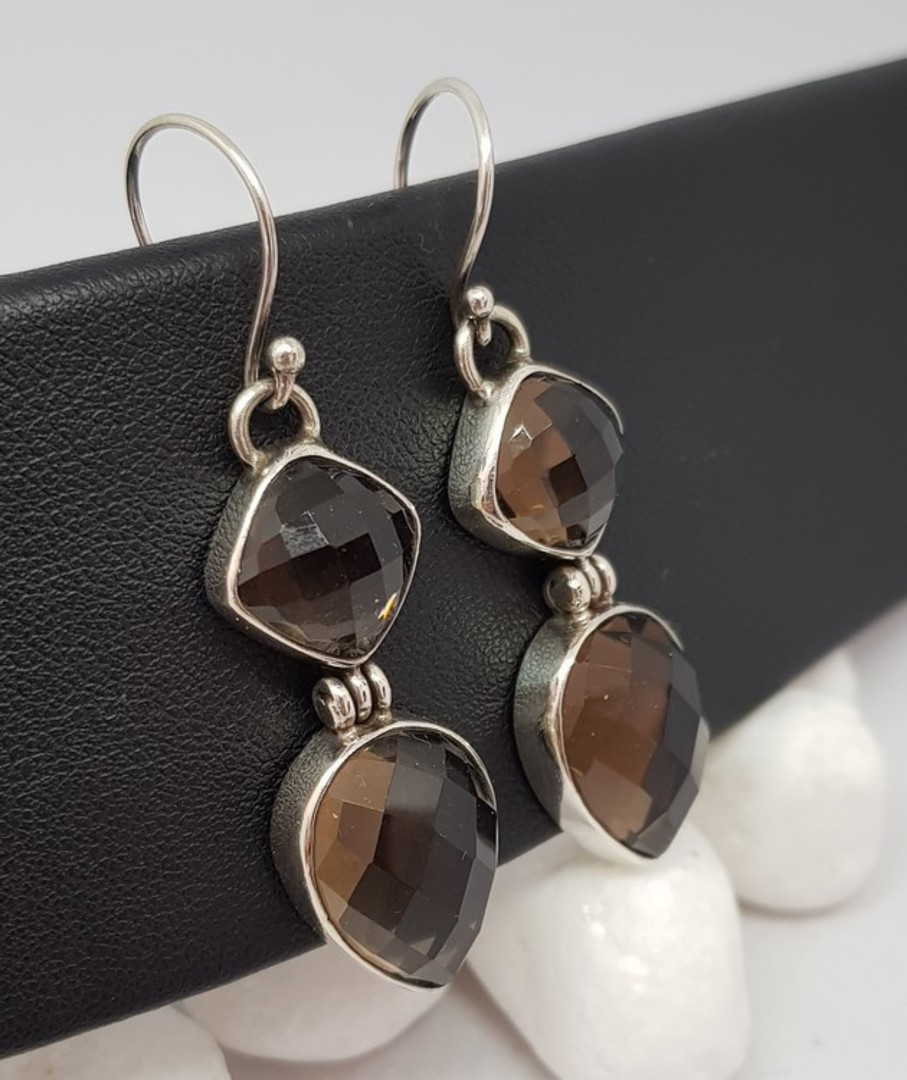 Long elegant smoky quartz silver earrings image 1