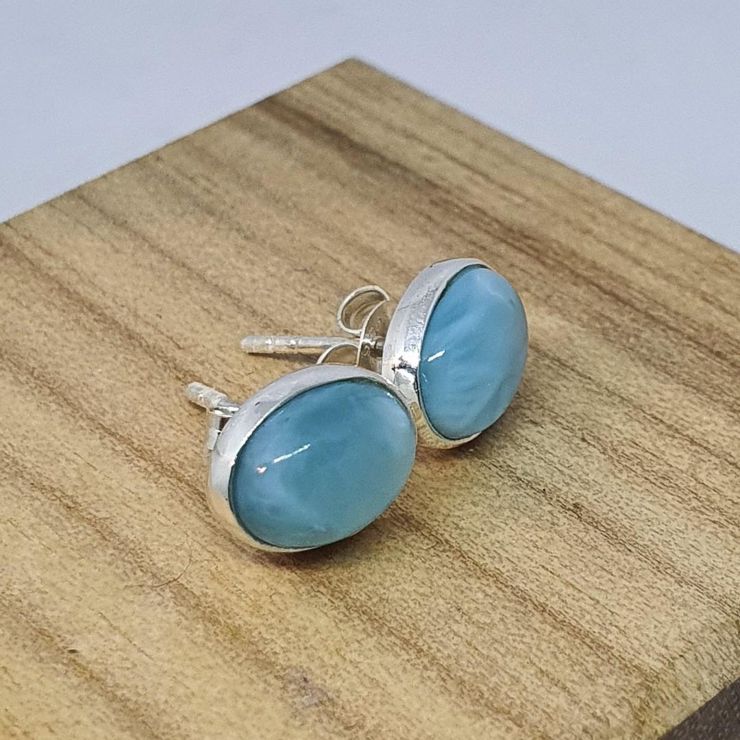 Cute little oval larimar gemstone stud earrings image 3