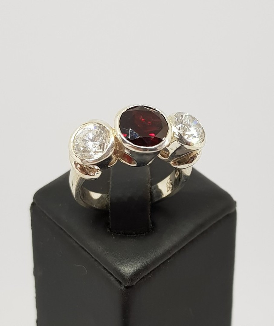 Silver ring with garnet  and cz gemstones - made in NZ image 0