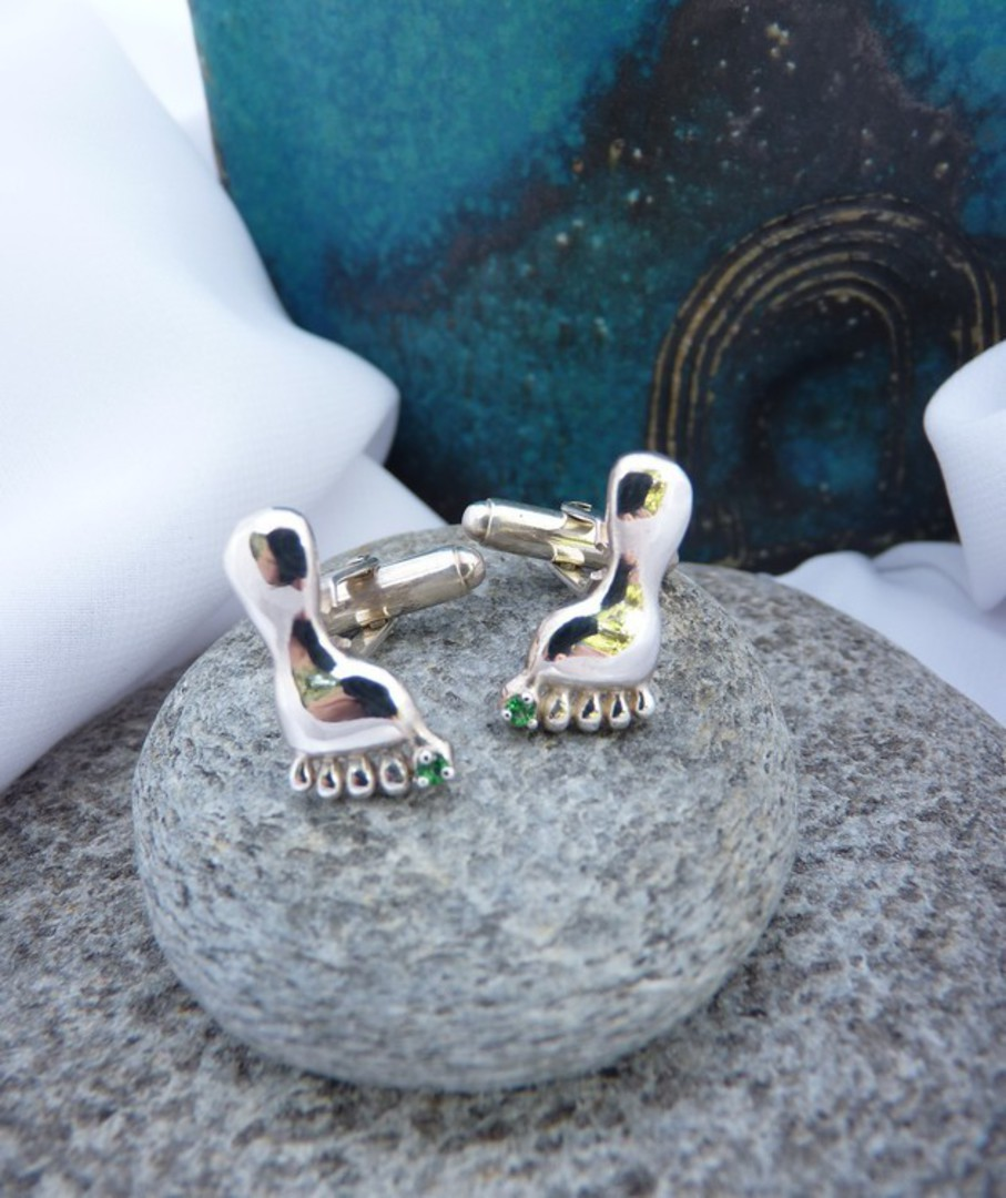 Sterling silver cufflinks foot shape with green stone image 1